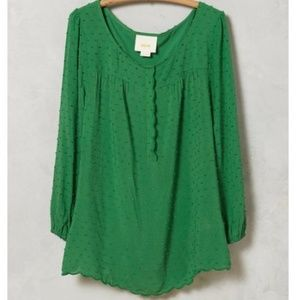 Maeve Kelly Green Scallop Edge Top Size 12